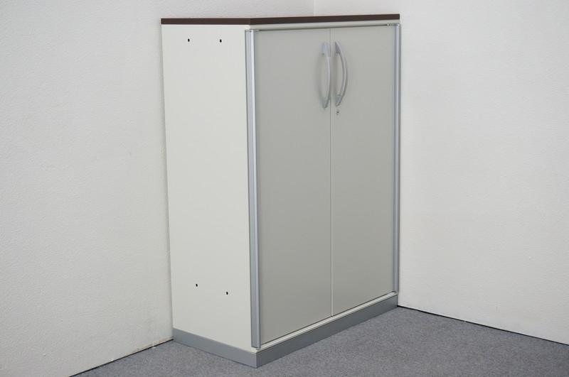 プラス XFストレージ 両開き書庫 スチール扉 天板付(マホガニー) H1120
