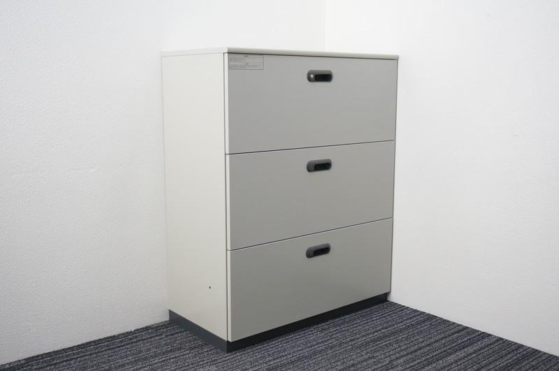 プラス LINX LX-5 3段ラテラル書庫 天板付 エルグレー H1120