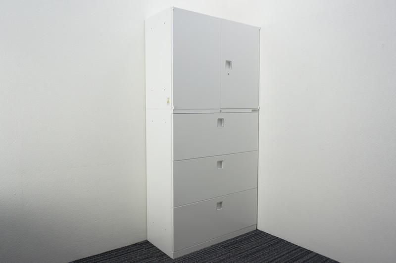 オカムラ レクトライン 3段ラテラル+両開き書庫 W900 D400 H1810 ZA75色