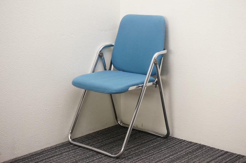 オカムラ 8160 折りたたみ椅子 布 ブルー