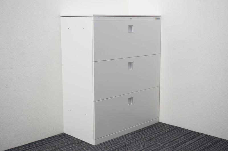 オカムラ レクトライン 3段ラテラル書庫 天板付 H1115