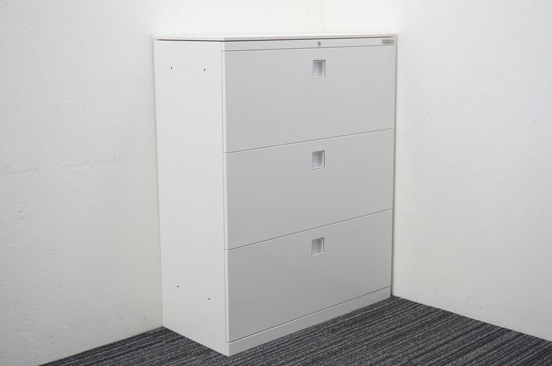 オカムラ レクトライン 3段ラテラル書庫 天板付 W900 D400 H1115