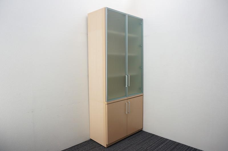 オカムラ EX-100 木製ガラス書棚 H2100