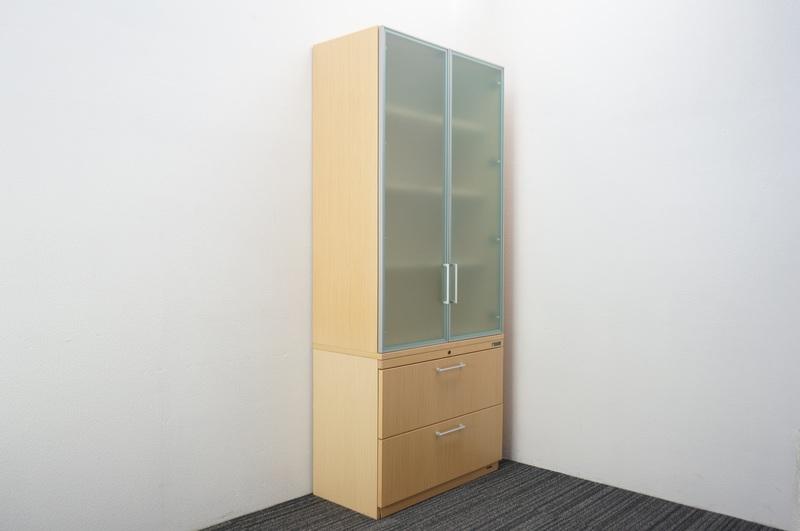オカムラ EX-100 木製ガラス書棚+2段ラテラルキャビネット H2100