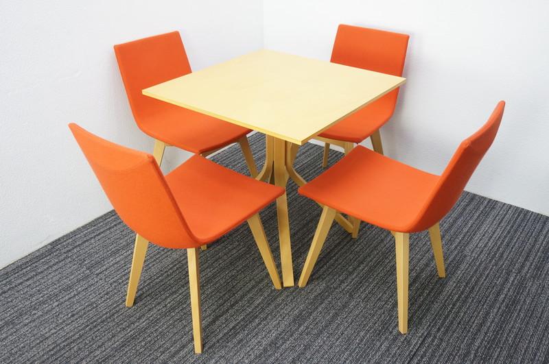 【自社便対応のみ】 木製テーブル 0770 + ダイニングチェア 4脚セット