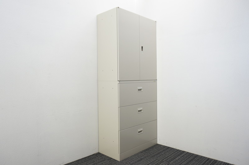 オカムラ 42 3段ラテラル+両開き書庫 H2100