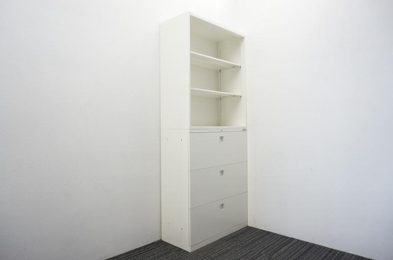 オカムラ レクトライン 3段ラテラル+オープン書庫 W900 D400 H2150 ZA75色