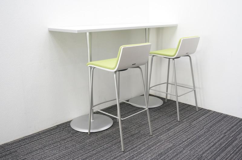 オカムラ アルトカフェ ハイテーブル 1545+ハイチェア グリーン 2脚セット
