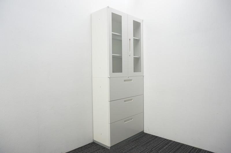 イナバ リベスト 3段ラテラル+ガラス両開き書庫 W900 D400 H2165 ホワイト