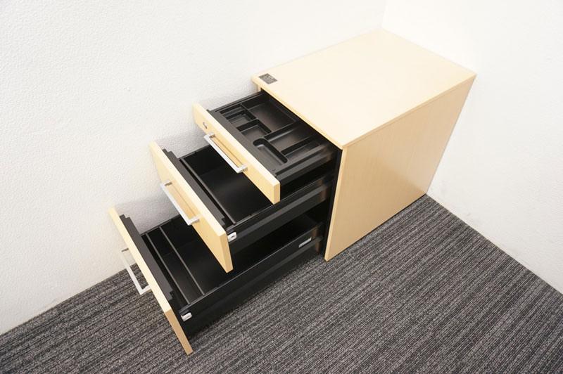 オカムラ EX-100 木製平デスク 168 +木製3段ワゴンセット 特価品