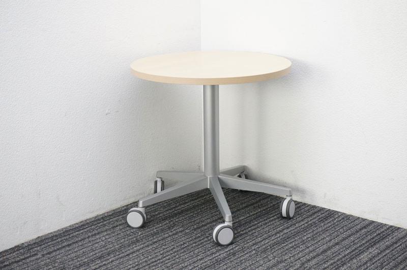 オカムラ アプションフリー フレキシブルテーブル 天板昇降丸テーブル Φ600 H605-805 ネオウッドライト