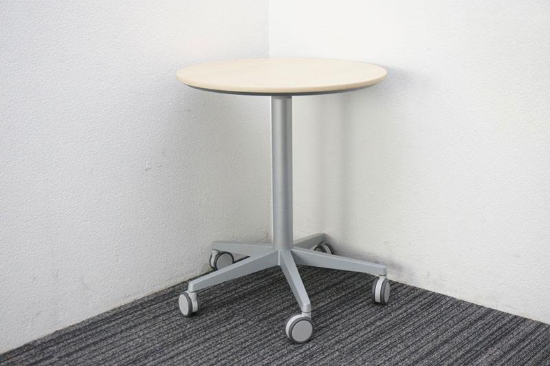 オカムラ アルトコーボウ サポート丸テーブル(昇降機能付) Φ600 H700-1000 ネオウッドライト