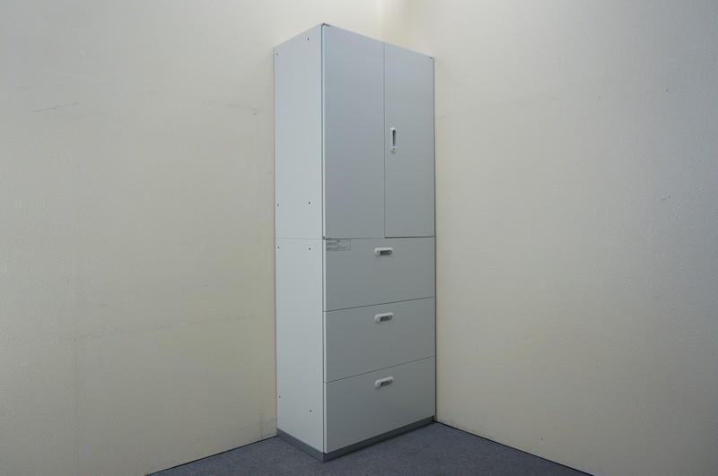 プラス LINX LX-5 3段ラテラル+両開き書庫 ホワイト W800 H2150