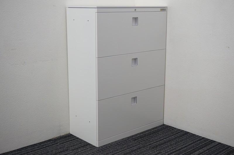 オカムラ レクトライン 3段ラテラル書庫 天板付 W800 D400 H1115