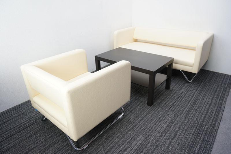 相合家具/IKEA 応接3点セット 3P×1 1P×1 テーブル×1