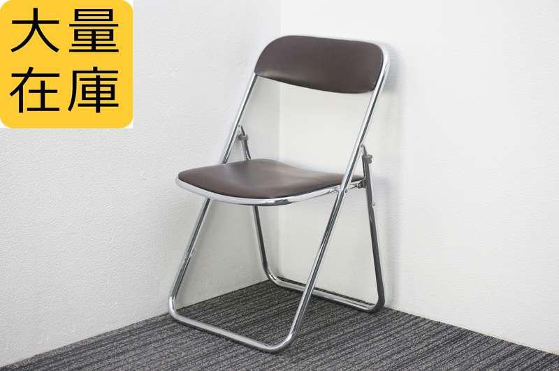 ウチダ 折りたたみパイプ椅子 ブラウン