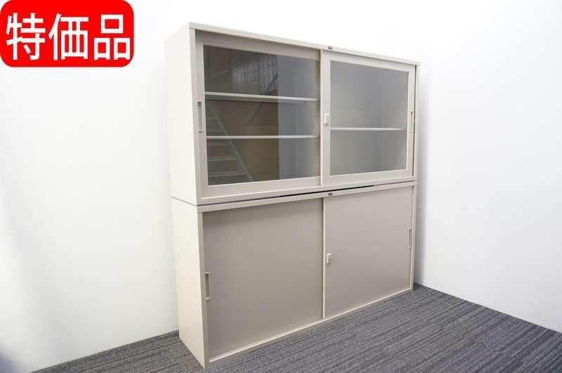 ウチダ ガラス引戸+スチール引戸書庫 W1760 D400 H1760 ベース無し 特価品