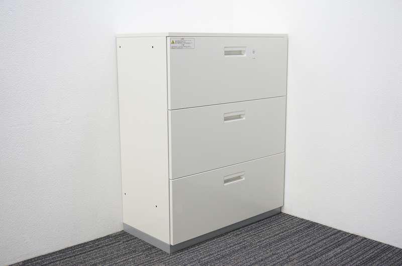 プラス L6 3段ラテラル書庫 天板付 H1120 ホワイト