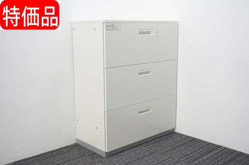 プラス L6 3段ラテラル書庫 天板付 H1120 ホワイト 特価品