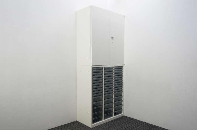 オカムラ レクトライン 書類整理庫(3列16段)+両開き書庫 H2150 ZA75色