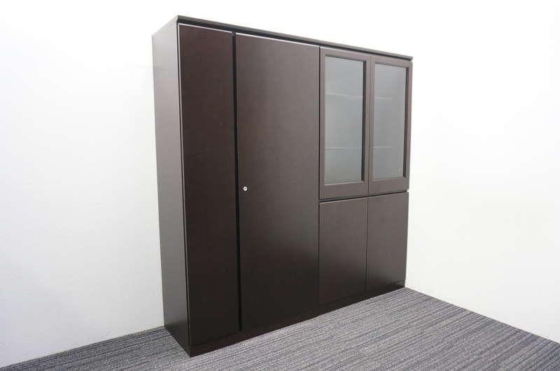 コクヨ マネージメント220 木製ワードローブ+ガラス両開き書庫 H1800
