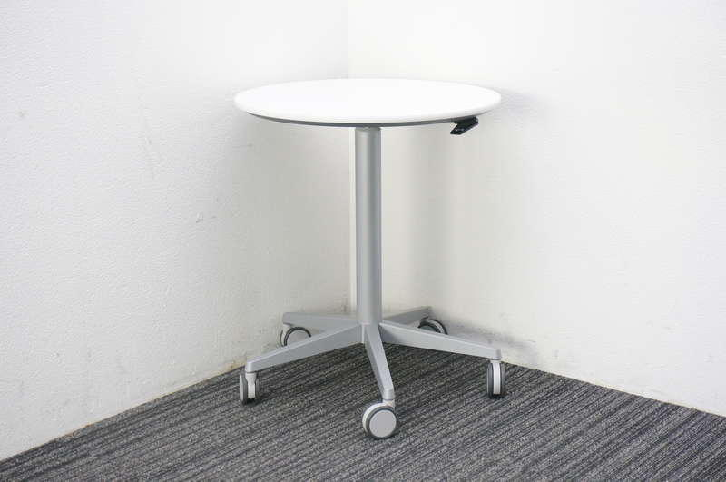 オカムラ アルトコーボウ サポート丸テーブル(昇降機能付) Φ600 H700-1000 ホワイト
