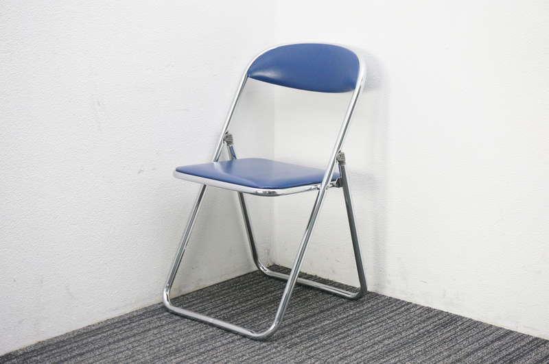 コクヨ 折りたたみ椅子 ブルー