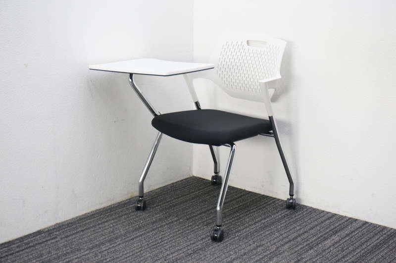 オカムラ パート ミーティングチェア テーブル付 ブラック ホワイトシェル