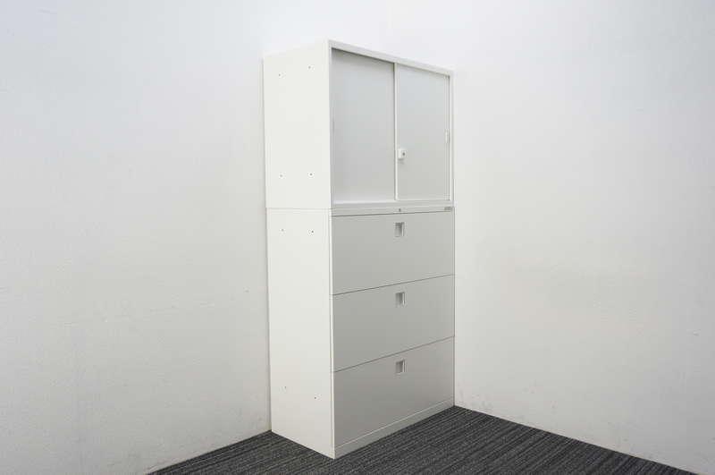 オカムラ レクトライン 3段ラテラル+2枚引戸書庫 H1810 ZA75色