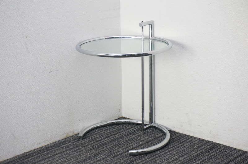 E-1027 ガラスサイドテーブル リプロダクト Φ500 H540-860