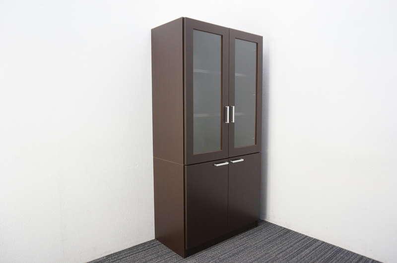 イトーキ X11 木製ガラス両開き書庫 H1800