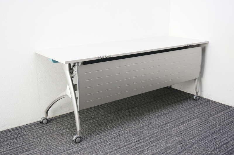 イトーキ リリッシュ フラップテーブル 1860 幕板付 配線クリップタイプ ホワイト