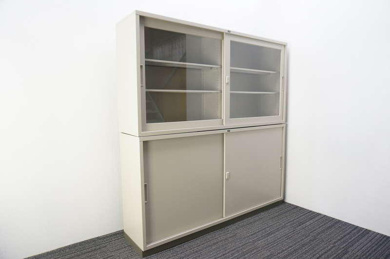ウチダ ガラス引戸+スチール引戸書庫 W1760 D400 H1820