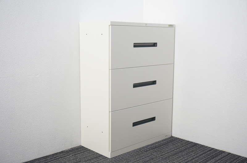 オカムラ ヴィラージュ 3段ラテラル書庫 W800 D400 H1100 ホワイト