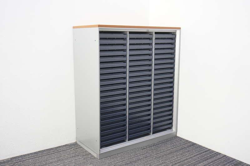 コクヨ UFX 書類整理庫 3列20段 A4 浅型 天板付 ダブルベース H1090