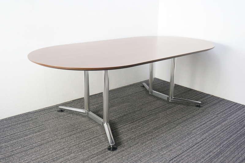 オカムラ ラティオ 楕円型ミーティングテーブル 2111 オーク調ダーク色
