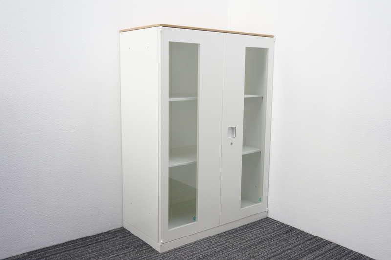 オカムラ レクトライン ガラス両開き書庫 天板付(ネオウッドミディアム) H1265 ZA75色