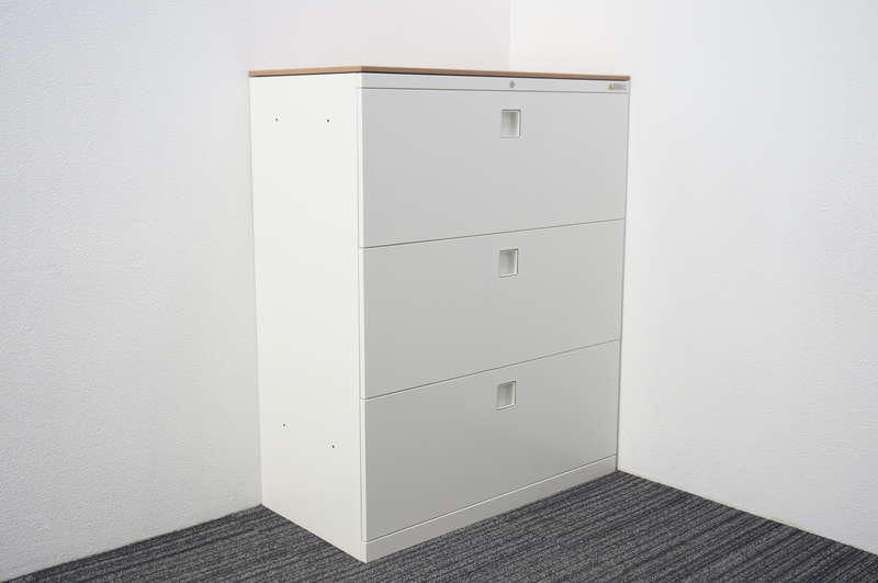 オカムラ レクトライン 3段ラテラル書庫 天板付(ネオウッドミディアム) H1115 ZA75色