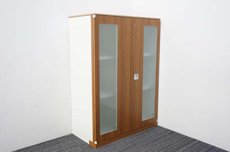 オカムラ レクトライン ガラス両開き書庫 天板付 木目柄カッティングシート仕様 H1265 ZA75色