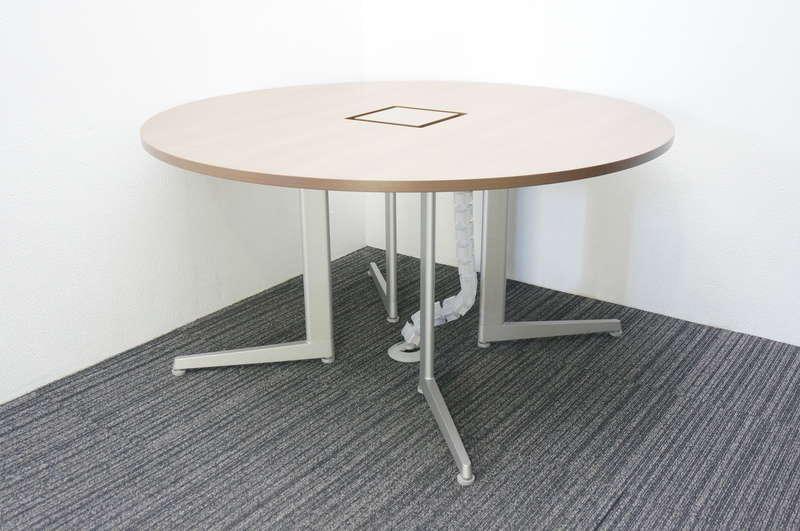 オカムラ アプションフリー コアテーブル(丸テーブル) L脚タイプ Φ1400 H720 ネオウッドダーク