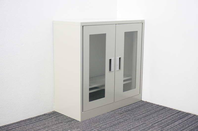 【開梱未使用品】 プラス マジック扉式ガラス両開き書庫 W880 D380 H880