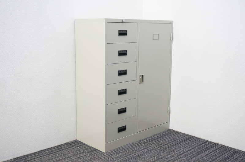 【開梱未使用品】 プラス スチールキャビネット 開き戸コンビ式 エルグレー W880 D400 H1120