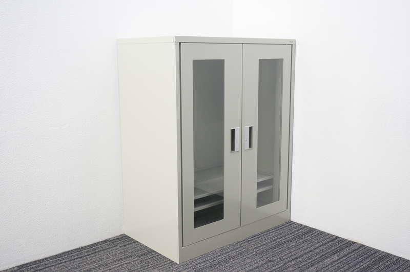 【開梱未使用品】 プラス マジック扉式ガラス両開き書庫 深型 W880 D515 H1120