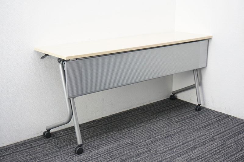 オカムラ ネスティア フラップテーブル 1545 幕板付 ライトプレーン