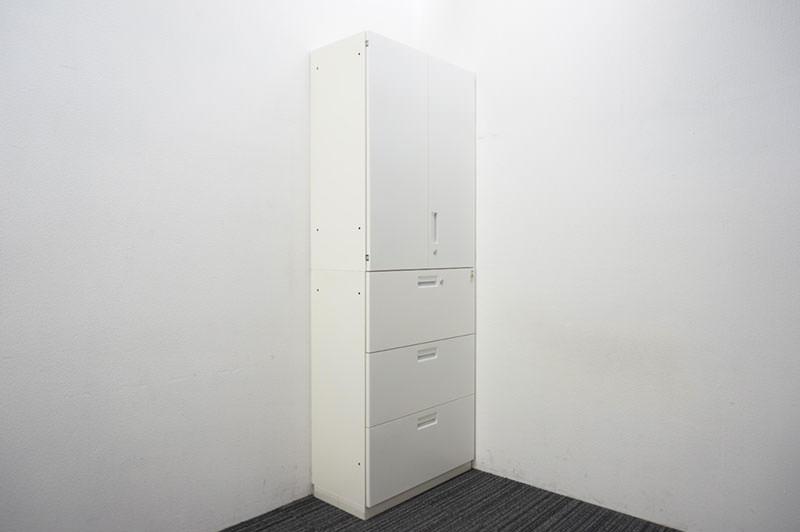 コクヨ BWS 3段ラテラル+両開き書庫 W800 D400 H2140 ホワイト