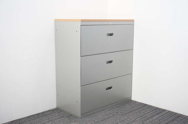 クロガネ イオ 3段ラテラル書庫 天板付 H1080