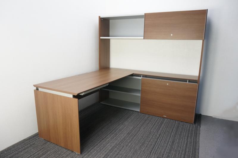 オカムラ プロセルバ 書庫付L型テーブル 1枚引違いタイプ ネオウッドダーク