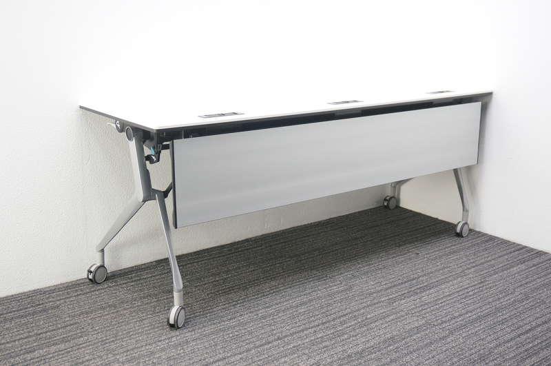 オカムラ インターアクトNT フラップテーブル 1860 幕板付 配線孔付 ホワイト