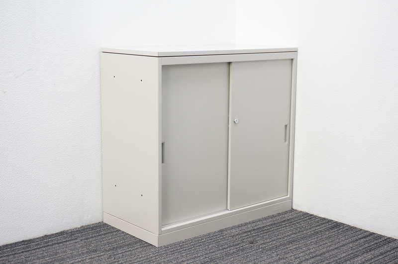 オカムラ 42-A 2枚引戸書庫 天板付 W800 D400 H770