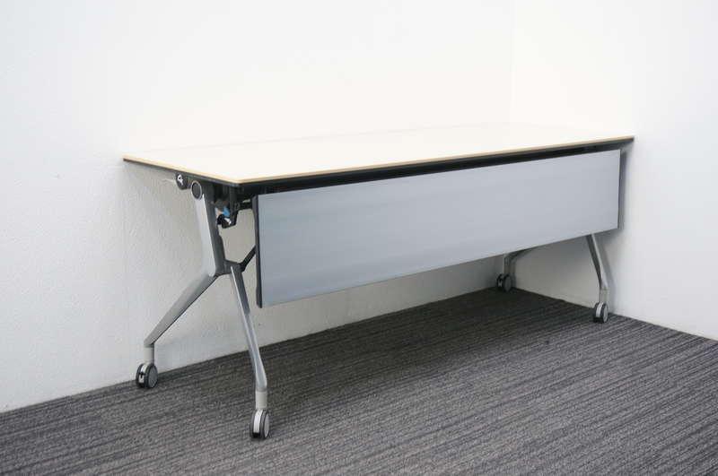 オカムラ インターアクトNT フラップテーブル 1860 幕板付 棚板付 配線ダクト無し ライトプレーン